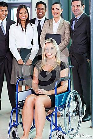 Disabled businesswoman team