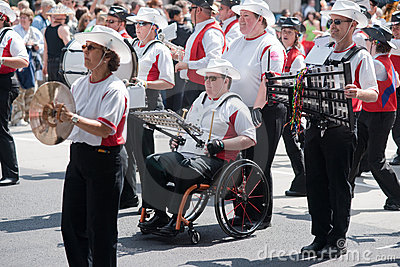 Disabled member of marching band Editorial Stock Photo