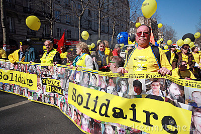 Disabled people demonstrate in Paris Editorial Photo