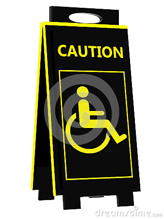 Disabled person warning sign