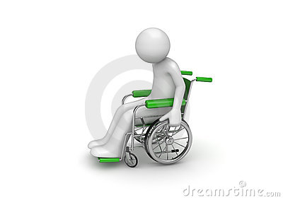 Disabled person on a wheeled chair