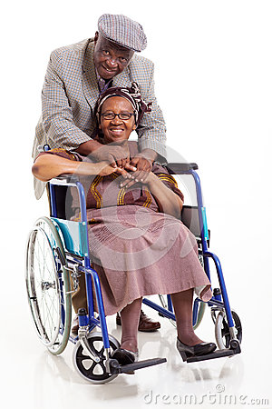 Disabled senior african woman husband