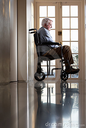 Free Disabled Senior Man In Wheelchair Stock Photos - 18869233