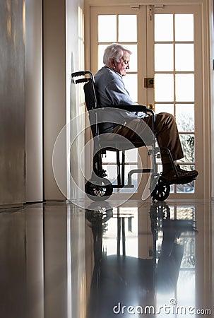 Disabled Senior Man  In Wheelchair