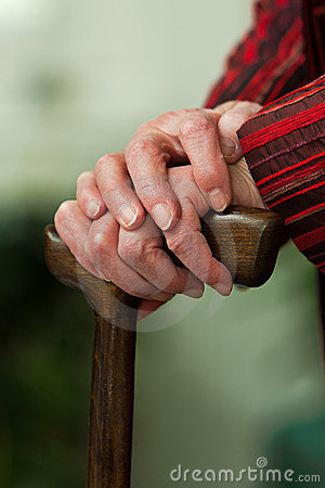 Disabled senior walking stick with a smile