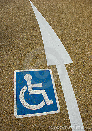 Disabled sign with an arrow