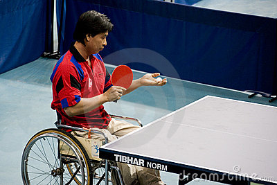 Disabled table tennis player