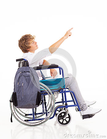 Disabled teen boy
