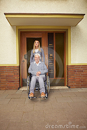 Disabled woman in assisted living