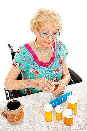 Free Disabled Woman Takes Medicine Stock Images - 23178964