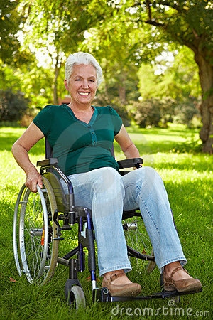 Disabled woman in wheelchair