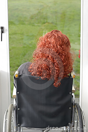 Disabled Woman In Wheelchair Looking At The Garden Stock Photography - Image: 15648742