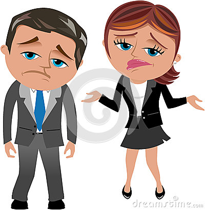 Disappointed Business Woman and Man