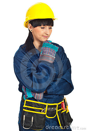 Disappointed constructor worker woman