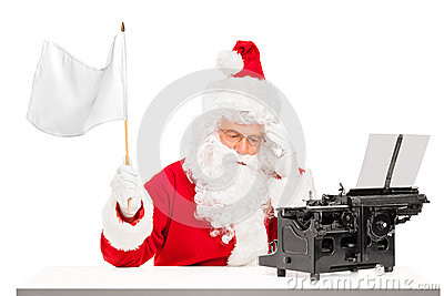 Disappointed Santa with typing machine waving flag