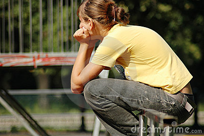 Disappointed Skate Girl In Park Royalty Free Stock Image - Image: 215436