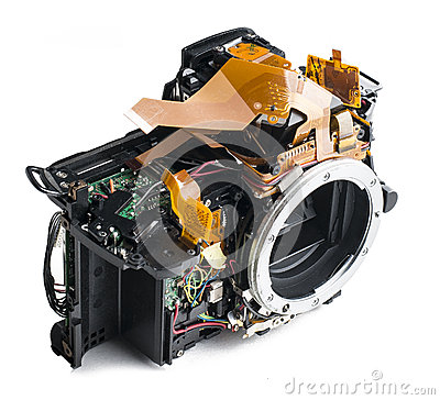 Disassembled dslr camera