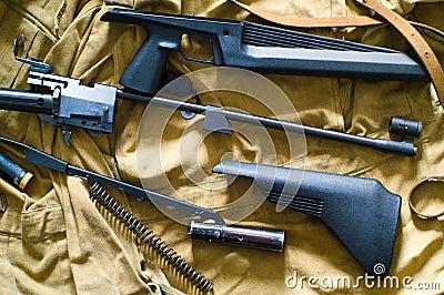 Disassembled rifle