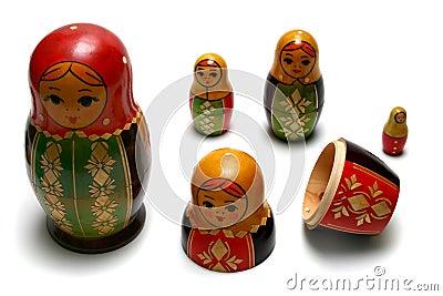 Disassembled russian matreshka toys