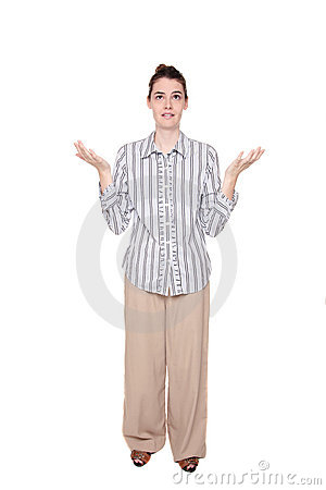 Disbelief - Caucasian woman with arms raised