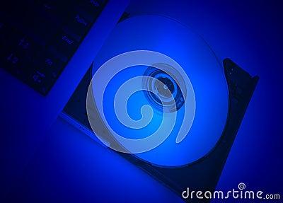 Disc drive cd-rom blue movie