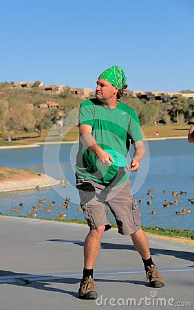 USA, Arizona: Disc Golfer About to Throw Editorial Photography
