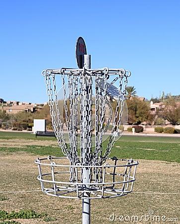 USA: Disc Golf - A Disc Hits The Disc Catcher