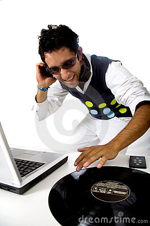 Disc jockey in action