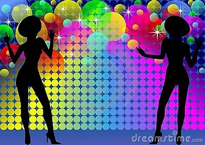 Disco background with girls silhouettes and lights