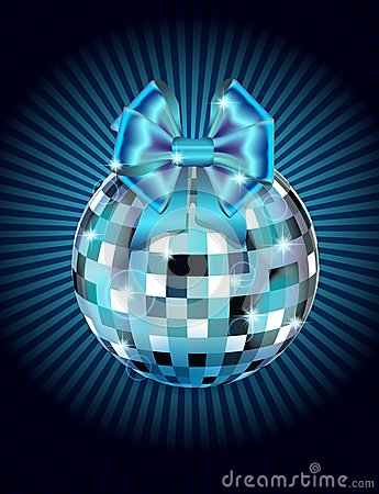 Disco ball with bow