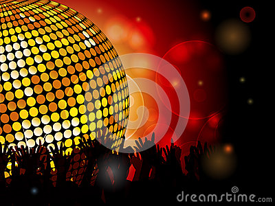 Disco ball and crowd