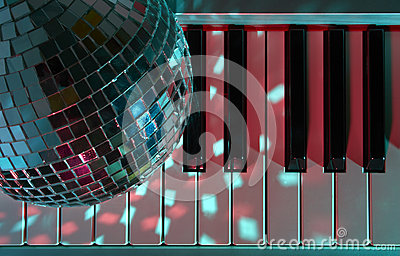 Disco ball and keyboard
