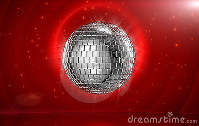 Disco ball in red stage