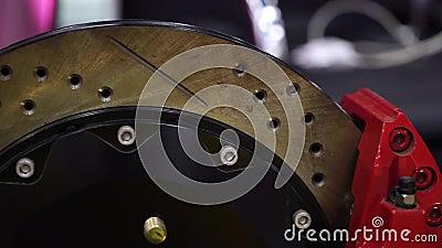 Disco do freio de carro e calibre do freio video estoque