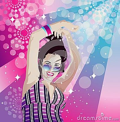 Disco girl dancing
