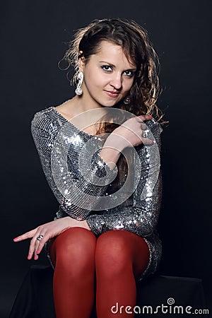 Disco girl in silver dress