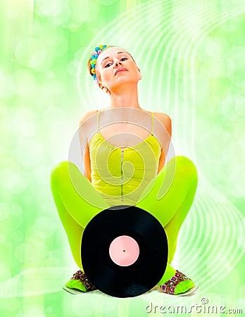 Disco girl with vinyl