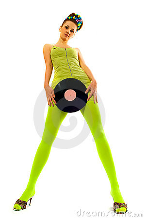 Free Disco Girl With Vinyl Stock Photography - 7579982