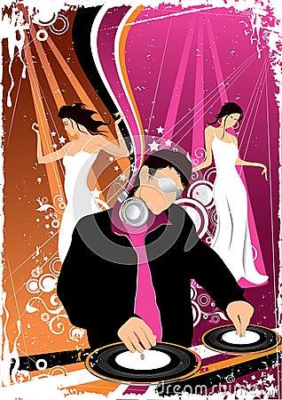 Disco jockey and dancing girls