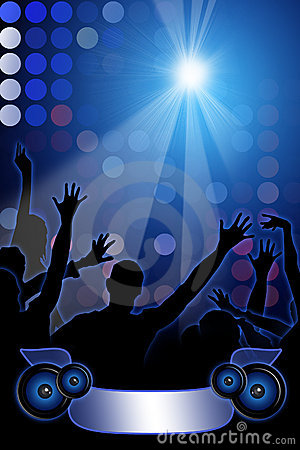 Disco Party on blue background