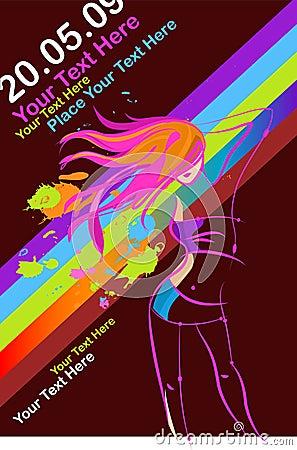 Free Disco Party Girl Flyer Stock Photo - 13718140