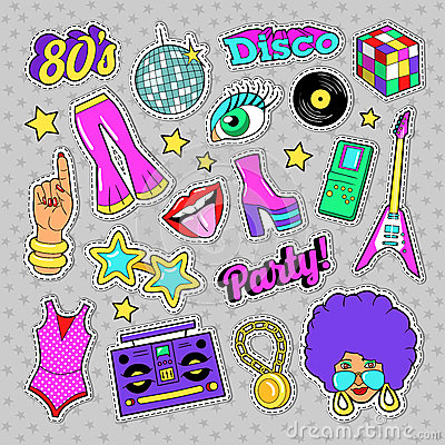 Disco Party Retro Fashion Elements with Guitar, Lips and Stars for Stickers, Patches, Badges Vector Illustration
