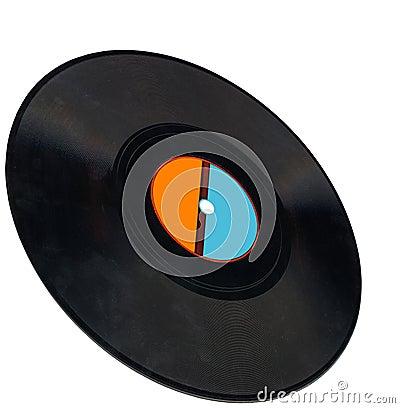 disco, vintage vinyl record, clipping path, coal