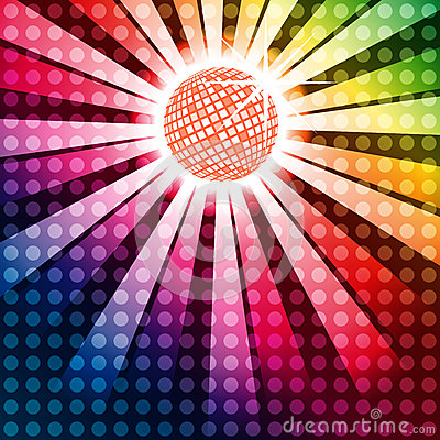 Free Discoball With Funky Rainbow Background Royalty Free Stock Photo - 32327335
