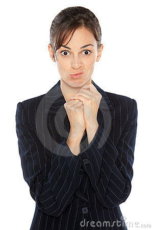 Discontent female in suit
