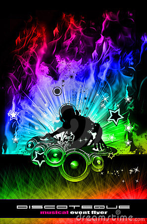 Free Discoteque Dj Flyer With Real Flames Stock Photo - 12313700
