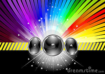 Discotheque banner template with rainbow