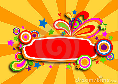 Discotheque colorful banner with stars