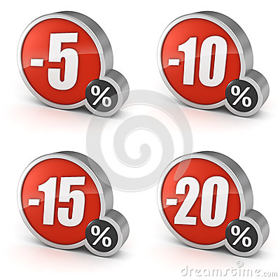Free Discount 5, 10, 15, 20 Sale 3d Icon Set On White Background Royalty Free Stock Photography - 32225307