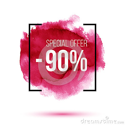 Free Discount 90 Percent Off Sale On Pink Watercolour Background Stock Images - 82345244